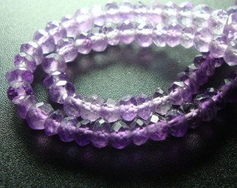 7 Inch Strand, 3 mm - Beautiful purple shaded Amethyst Micro Faceted Rondelle