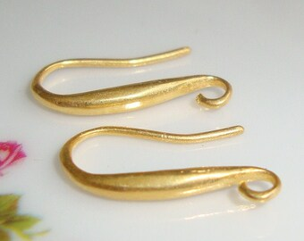 Handmade 24K Gold Vermeil over 925 Sterling Silver Solid Artsy Short Elegant Sexy Earwire, 2 pairs - 18x10mm- EW-0018