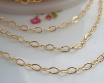 """14k Gold Filled Pretty Drawn Cable finished Chain, Pretty and Elegant Chain, 3mm x 1.75mm, 18"""""""