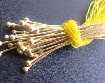 bulk 200 pcs, 28 gauge, 20mm 0.75 Inch, Bali 24K Vermeil over Sterling Silver Ball End Headpins