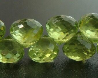 10 pcs - 5-6mm, Genuine Peridot,  AAA Green Apple Green Peridot Micro Faceted Cute Onions Briolettes