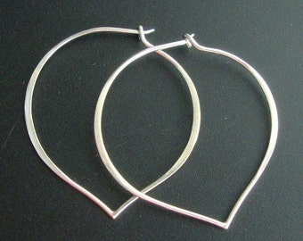 sale 12% off-2 pairs, 38x37mm, Handmade Findings, Sterling Silver Longevity Peach, Heart, Lotus Petal Ear wire - EW-0020