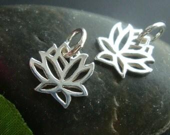 2, 5, 10, 20 pcs, 10x10mm, 925 Sterling Silver Tiny Small Lotus Pendant Charm, PC-0165