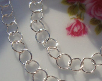 Bulk 3 ft Sterling Silver Big Round Cirle Chain, 4mm Circle Link, 24 gauge Thick, Chain By The Foot