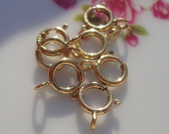 Bulk 50 pcs, 5 mm, High Quality 14k Gold Filled Spring Clasp with Open Ring