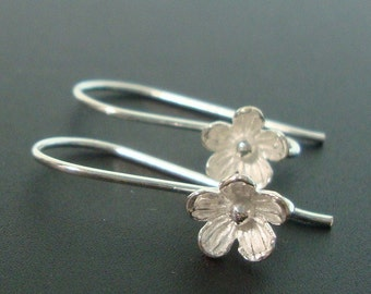 Sterling Silver Larger Lotus Blossom / Floral Earwires, 10% off 20 Pairs, 8mm lotus flower - EW-0013