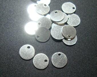 Sterling Silver Sequin Disc Tags, 10 pcs, 6mm, 24g gauge, High Polished