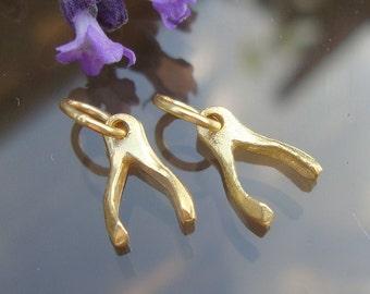 24K Vermeil Tiny Wishbone Good Luck Charm, 8% off, 12 pcs