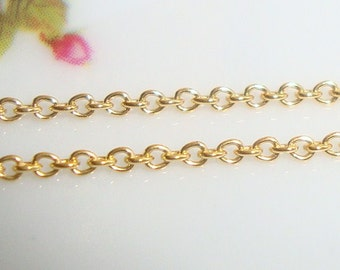 14k KT Gold Filled Quality Pretty Small Cable Chain, 1mm, Fine but Sturdy, Bulk 10 ft