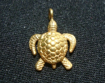 24K vermeil over Sterling Silver Sea Turtle Charm, 19x14mm, 1 pc, PC-0143