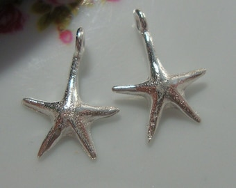 Bright Sterling Silver Starfish Charms Pendants,16x12mm, 2 pcs,PC-0109