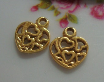 4 pcs, 11x10mm, 24K Gold Vermeil over Sterling Silver Cute Hearts in Heart Charms, Pendants or Dangles - Minimalist Findings