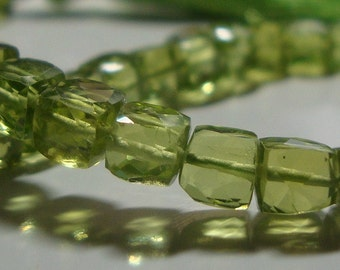 6 pcs, 4-4.5mm, Gorgeous Sparkling Genuine Peridot Faceted Cube Beads - August Stone