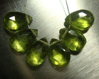 10 pcs, 7-8mm, Genuine Peridot Faceted Pear Briolette - Amazing Green Color