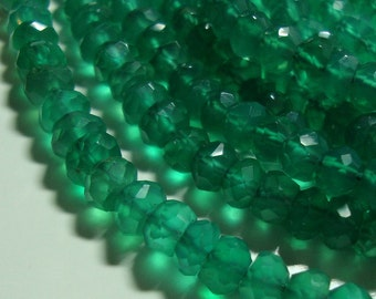 Gorgeous Green Onyx Micro Faceted Rondelle, 1/2 strand, 3.5-4mm