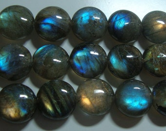 AAA, 16 Inch strand, 14mm, Firey Blue Green Gold Flash Labradorite Smooth Coin Beads