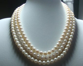 Fresh Water Pearls, Reduced from 69.00, 15.5 Inch Strand, 7-7.5mm, Genuine Round Fresh Water Pearls, Luxury bridal Design, June Birthday