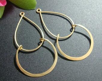 4 pcs, Handmade Findings, 24K Vermeil over Sterling Silver, Modern Double Loops Chandelier, Pendant, Earring Findings - CC-0001