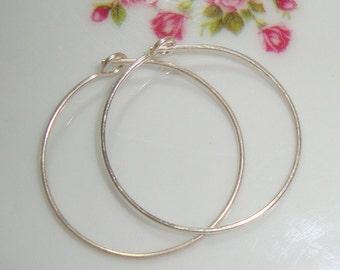 6 pcs, Handmade 25mm, 21 gauge,  Sterling Silver Beading Earring Hoop, 925 Sterling silver Ear Wires
