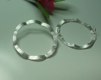 Reduced from 9.9, 28mm, 925 Sterling Silver, 3D Wave Halo, Circle Connector, 2 loops, Ice Matte Brushed Finish