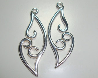 So Beautiful, 2 pcs,  29x11mm, 925 Sterling Silver, Artsy Angel Wing Connector, Left and Right Facing, Tarnish Resistant