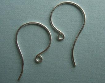 SAVE, BULK 20 pcs, 21x10 mm, 21 gauge, Sterling Silver Artsy Simple French Ear Wire - Earrings findings - EW-0039