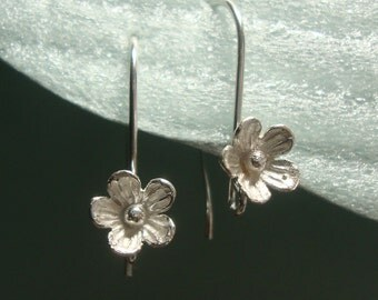 2 Pairs, 26x12 mm, 8mm lotus flower, 925 Sterling Silver Lotus Blossom Floral Earwires - EW-0026
