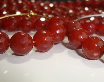 1/2 strand, 8 mm, Red Agate Chalcedony Disco Ball Faceted Round beads, Fits 35mm 45mm hoops