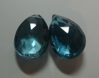 Genuine London Blue Topaz Faceted Pear Briolette - 2 pcs - 12.6-12.8mm - A11-1, 10% Off sale