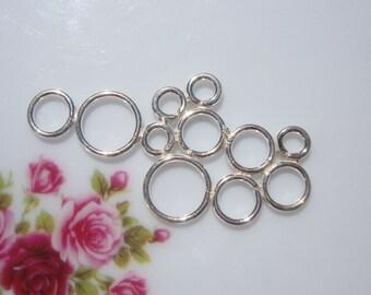 Sale, 925 Sterling Silver 11 Circle Bubbles Pendant Connector Link, Bali Artisan, 2 pcs, 35x17.5mm