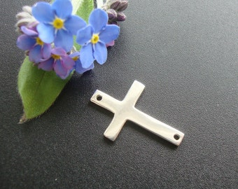 "Bulk 20 pcs, 12% sale, Sterling Silver Sideways Cross Pendant connector, 19x12.5mm, 3/4"",shinny, polished"