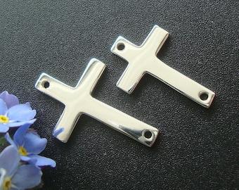 925 Sterling Silver Sideways Cross,16x10 mm, 1 pc