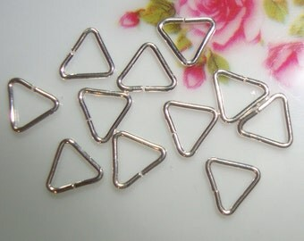 Bulk 50 pcs - 0.64x5mm - 22 gauge - Quality Pure Sterling Silver open Triangle jump rings