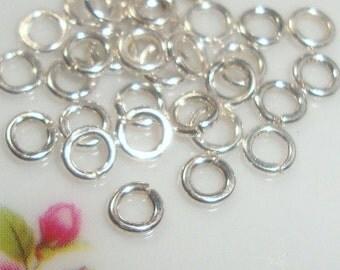 Sterling Silver open jump rings, bulk 50 pcs, 4mm, 22 gauge - 4jo22