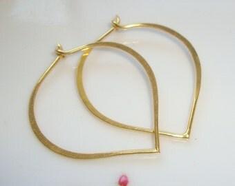 Bulk 20 pcs,25x24mm, 20.5gauge, Handmade 24K Gold Vermeil Sterling Silver Longevity Peach, Heart, Lotus Petal Ear wire, EW-0030