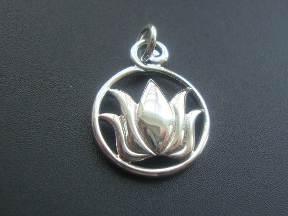 Thai - Sterling Silver Lotus Pendant, Charm, Charm Holder, Calm, Serene  - 1 pc