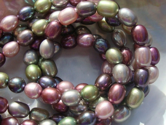 15% off, Full Inch Strand, Huge 9-10mm, Gorgeous AA-AAA Multi Color Fresh Water Pearls