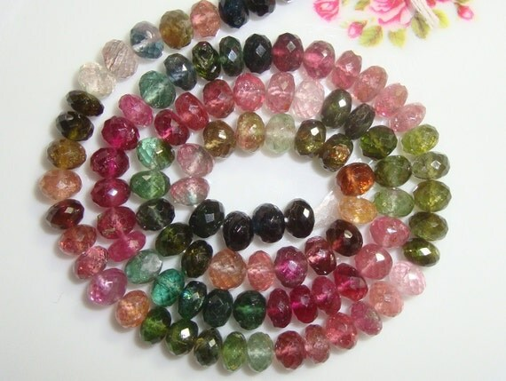 "AAA Gorgeous multi color Tourmaline Faceted Rondelles 4.5"" strand - 10 green Rondelle, 16 Pink Rondelle"