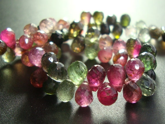 SALE 20% OFF, 20 Briolettes - AAA - 5-6mm -- Beautiful Color, Sparkling Tourmaline Micro Faceted Teardrop Briolettes