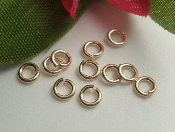 8% off 100 pcs -  4mm - 22 gauge - 14K Gold Filled Quality open jump rings