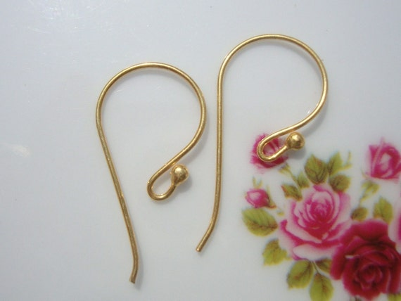 24K Vermeil over Sterling Silver French Ear wire with Ball-6 pairs, 24.5x12mm, 21 Gauge, Handmade Findings - EW-0005