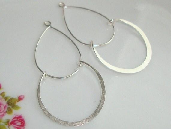 SAVE Bulk 4 pcs, Handmade Findings 925 Sterling Silver, Modern Double Loops Chandelier, Pendant