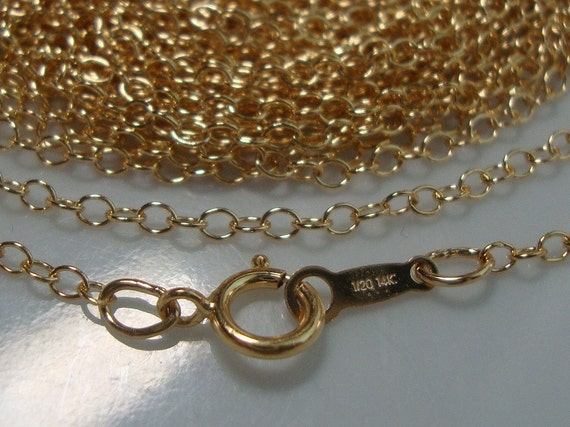 5 pcs, 20 Inches, 51cm, 14K 14Kt Gold Filled Finished Cable Chain with Spring Clasp, 2mm wide links