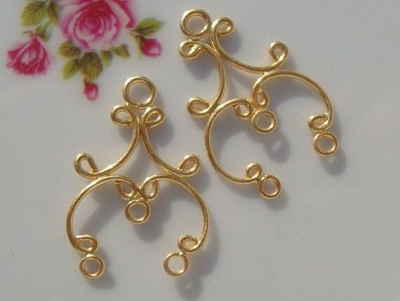 2 pcs, 23x15mm, Bali Artisan, 24K Gold Vermeil Sterling Silver Pretty Chandelier, Earring Findings, Pendant, Connector Link