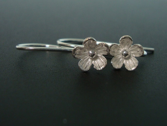 10% off, 20 Pairs, 8mm lotus flower, Semi Matte, Sterling Silver Larger Lotus Blossom / Floral Earwires - EW-0013