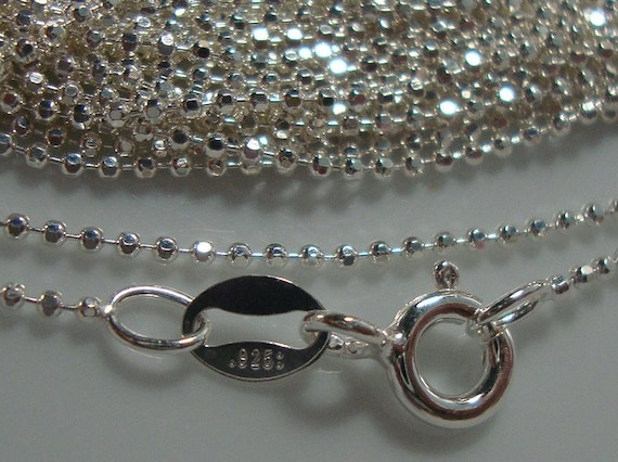 7% off 10 pcs, 925 Ste/rling Silver Diamond cut Beaded Ball Finished Chain, 18 Inches, 1mm, 925 stamped