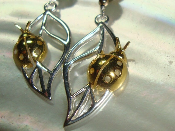 1 Pair, So Beautiful, 925 Sterling Silver Handmade, Polished, 18K Gold Cute 3D Lady Bug - Tarnish Resistant - PC-0006