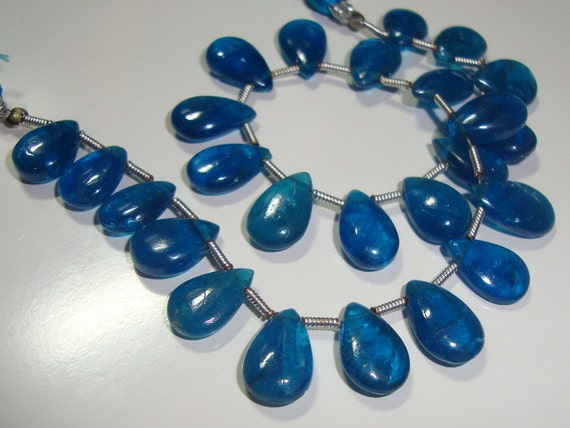 10% off, 1/2 Strand, 11.5-10.5x7 mm,  Amazing Color, Neon Blue Apetite Smooth Pear briolettes