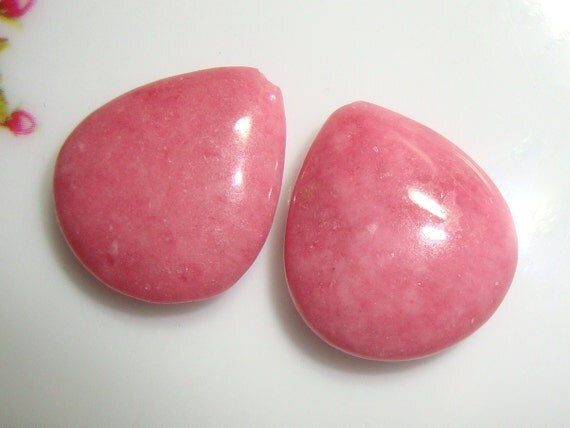 2 pcs, Natural Pink Rhodonite Lovely Heart Smooth Briolette