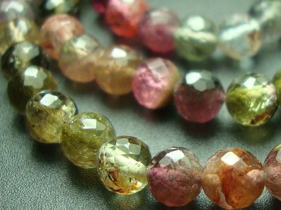 6.5 Inch Strand, 4mm, Beautiful Green Pink Watermelon Tourmaline Micro Faceted Round Beads